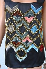 NEW ETRO $1,550 SILK BEADED EMBELLISHED OPEN BACK BLOUSE SHIRT TOP 42 8
