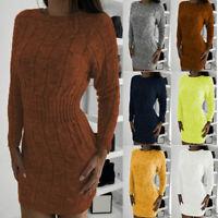 Bodycon Mini Sweater Long Sleeve Ladies Womens Knitted Jumper Dress Winter