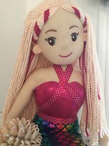 ~❤️~MERMAID DOLL Plush Soft Large 70cms Toy Pink/Rainbow MARIS BACK IN STOCK❤️