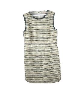 Tory Burch Womens Tank Dress Tweed Gold White Striped MIDI Size 12