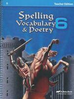 Abeka Spelling, Vocabulary, & Poetry 6 Teacher Edition