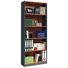Estanteria libreria para despacho oficina, mueble de almacenaje, Castaño y Gris