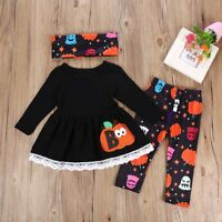 3PCS Kids Baby Girls T-shirt Tops Dress+Long Pants+Headband Outfits Clothes Set