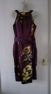 Coast Womens Smart Occasions Party  Work Dress Purple Floral Sz 14~BNWT £135