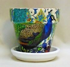 "Made To Order, Handmade Decoupage Flower Pot, Peacock, 4.25"""