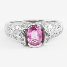 14k White Gold Oval Pink Natural Sapphire & Round Diamond Ring Band 1.29 TCW