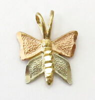 14k Tri Color Gold Diamond Cut Butterfly Charm Necklace Pendant ~ 0.3g