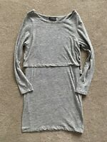 Mint Velvet Long Sleeve Grey Marl Jersey dress Size UK 14