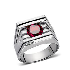 Solid 10K White GOLD Mens Ring REAL with Red Ruby and DIAMONDS Accents all sizes