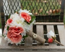 Burlap Ivory Coral Rustic Brooch Bride Wedding Bouquet and Groom Boutonniere