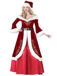 Christmas miss Santa Adult Costume Fancy Fur Sexy Cosplay Long Gown UK SizeSM810