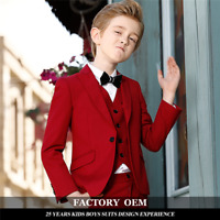Red Boys Suits Groom Wedding Tuxedos Page Boy Baby Formal Prom Kids 3 Piece Suit