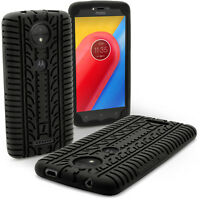 Black Tyre Tread Silicone Rubber Gel Skin Case Cover for Motorola Moto C 2017