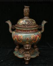 Old Chinese Bronze Cloisonne Enamel Dragon Lion Head Beast Incense Burner Censer