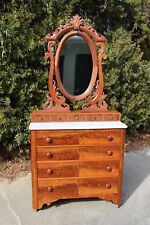 Gorgeous Ca. 1850 Walnut Victorian Empire Marble Top Dresser Chest w Oval Mirror