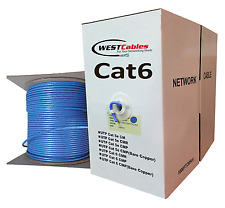 Cat6 Plenum 1000ft Cable Ethernet CMP Solid Copper Wire  Blue Color