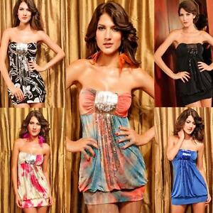 Casual Summer Mini Sundress Strapless Bandeau Sequin Elastic Fit Sexy Bodycon