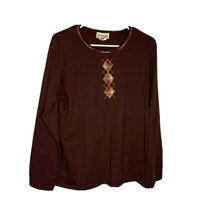 Longaberger Homestead Womens Brown Long Sleeve Cotton Scoop Neck Tunic Top 2X