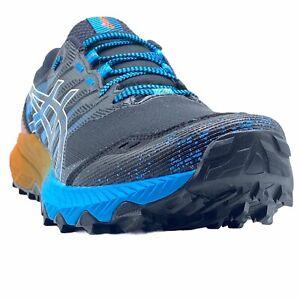 MEN ASICS GEL TRABUCO 9:SZ10.5(M)1011B030 BLACK BLUE RUNNING SHOES WORN ONCE.K1