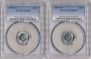 2 Coin LOT - 1996 W Roosevelt Dime 10C PCGS MS68 & 1996 W Roosevelt Dime MS68FB