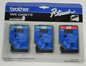 P-Touch Laminated Labels Tape Cassette TC-40 2 Blue & 1 Red 3 Brother