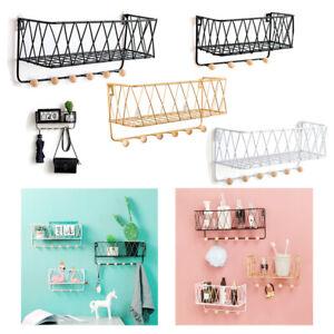 Wall Mounted Shelf Wire Rack Storage Unit With Hooks Basket Hanging Key Hanger