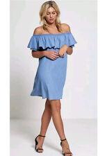 Ruffle Detail Bardot Denim Wash Blue Chambray Dress (RRP £27.99)