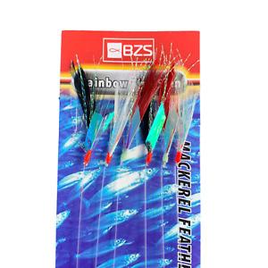 10 packets of Rainbow Fish Skin Feathers mackerel tinsel feathers (6 hooks)