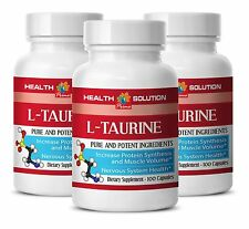 L-TAURINE 500mg Fat Burn Energy Stamina Amino Acids 3 Bottles Made in USA