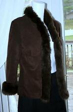 HAROLD'S Sz 4 Dark Brown 100% Suede Leather Jacket Lined Faux Fur Trim EUC