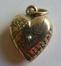 ANTIQUE GERMAN GOLD FILLED PUFFY HEART w/ FLORAL / PEARL CHARM ~ Superb!