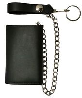 New Black Trifold Motorcycle, Trucker, Biker Chain Wallet 100% Leather USA Made