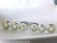 $1,240 BEAUTIFUL! 14K 2 TONE DESIGNER KREMENTZ 50CT BEZEL WHITE DIAMOND EARRINGS