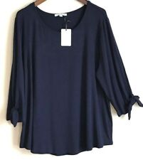 b6d443cfaad Green Envelope Top Plus Size 1X Shirt Navy 3 4 TIE Sleeve Tunic Blouse