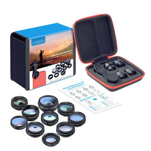 Apexel 10 in 1 Cell Phone Camera Lens Kit Wide Angle Lens and Macro 3/6 Lens UK
