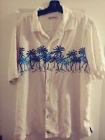 Tommy Bahama M Mens Shirt Linen Hawaiian Floral Blue Button Down Top XL