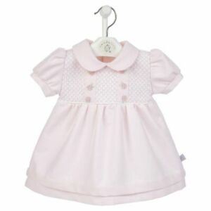 Dandelion Baby Girls Outfit Spanish Romany Smocked Embroidered Roses Pink Dress
