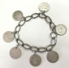 VICTORIAN ERA SILVER ENGRAVED US LIBERTY SEATED DIME 7 LOVE TOKENS LINK BRACELET