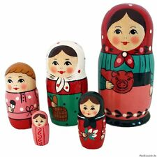 "Matroschka Babuschka Matryoshka ""Bauerhof"" Set aus 5 Puppen, 16 cm"