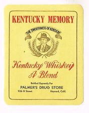 1940s CALIFORNIA Los Angeles L Hirsch KENTUCKY MEMORY Whiskey label