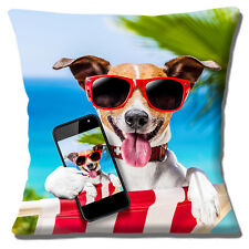 "NEW JACK RUSSELL DECK CHAIR HOLIDAY SUNGLASSES 'SELFIE' 16"" Pillow Cushion Cover"