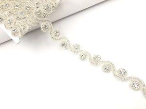 17''  Bridal Beautiful Silver Rhinestone Belt Bridal Lace For Wedding Dress Trim