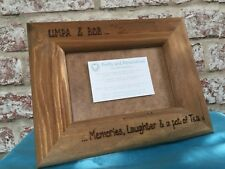 Design Your Own Personalised Wooden Photo Frame Hand Engraved Any Wording 6x4""
