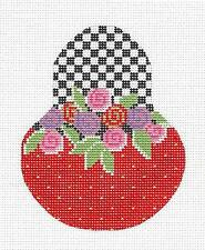 *NEW* Floral Roses & B&W Checks Pear handpainted Needlepoint Canvas Kelly Clark