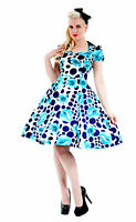 50's Vintage Retro Rockabilly Blue Poppy Print Party Prom Tea Dress 8 - 18