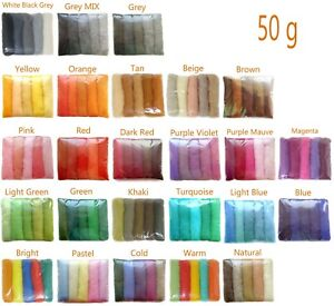 100+ Colours 100% Natural Carded Roving Wool needle/wet Felting Shade Packs 50g
