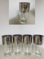 SET 5~VINTAGE MID CENTURY  MCM~STARLYTE TUMBLER GLASSES~SILVER ?PLATINUM SCROLL