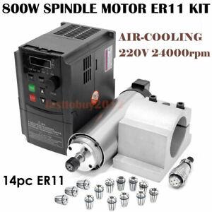 800W Air-cooled CNC Spindle Motor ER11 4Bearing 24000RPM + 1.5KW VFD Inverter
