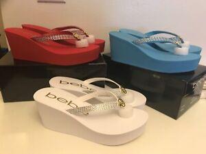 New Bebe Rhinestone Eva Wedge Flip Flop Sandal Size 8