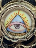 † SCARCE ANTIQUE ALL SEEING EYE PORCELAIN RELIC MEDALLION OPALINE GLASS ROSARY †
